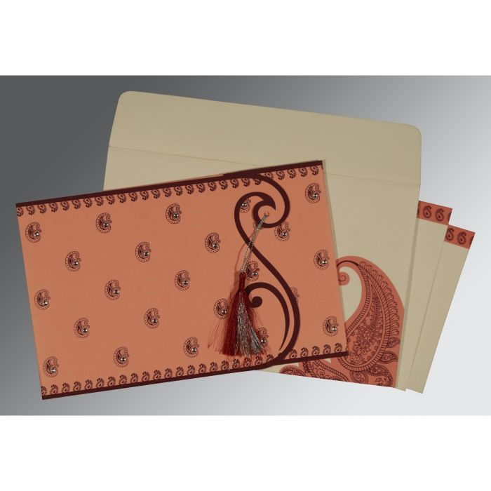 SALMON MATTE PAISLEY THEMED - SCREEN PRINTED WEDDING INVITATION : CIN-8252G - IndianWeddingCards