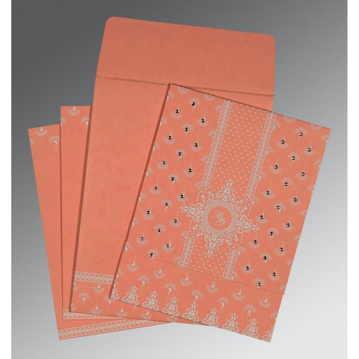 PEACH MATTE SCREEN PRINTED WEDDING INVITATION : CD-8247A - IndianWeddingCards