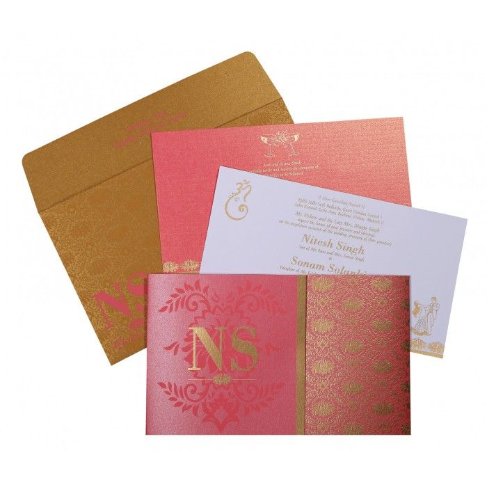 HOT PINK SHIMMERY DAMASK THEMED - SCREEN PRINTED WEDDING INVITATION : W-8261B - 123WeddingCards