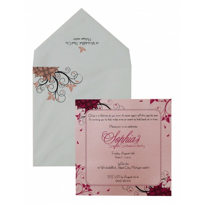 PINK SHIMMERY FLORAL THEMED - SCREEN PRINTED PARTY CARDS : PY-891 - 123WeddingCards