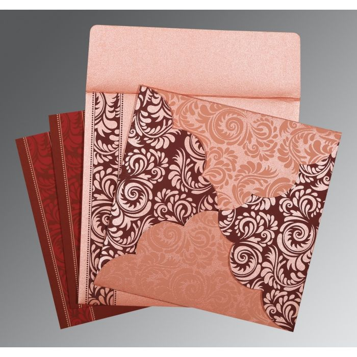PINK SHIMMERY FLORAL THEMED - SCREEN PRINTED WEDDING CARD : W-8235D - 123WeddingCards