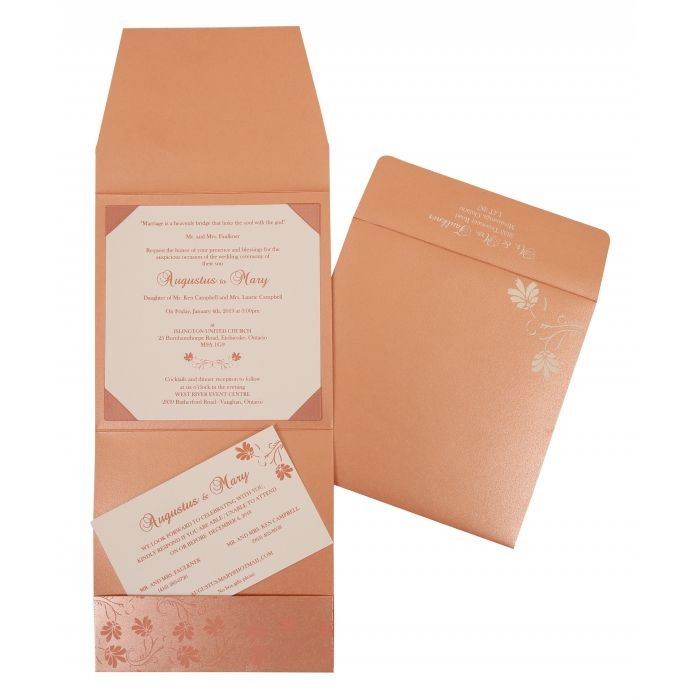 SALMON SHIMMERY SCREEN PRINTED WEDDING INVITATION : CRU-803C - IndianWeddingCards
