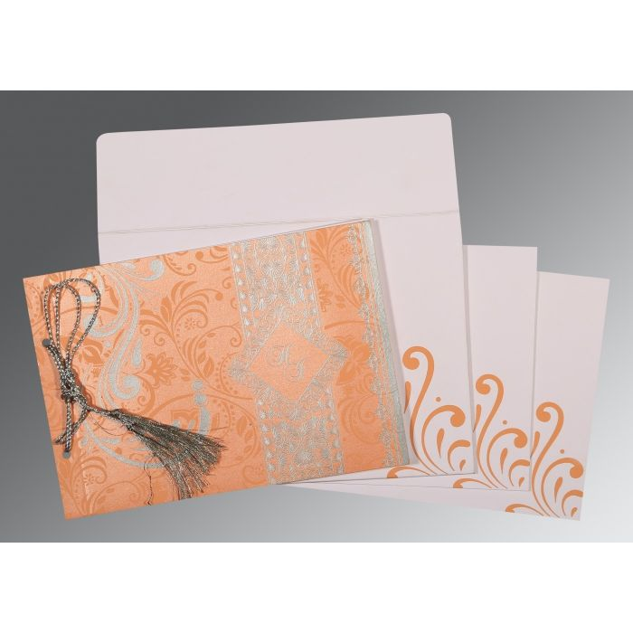 SWEET NECTAR SHIMMERY SCREEN PRINTED WEDDING CARD : CS-8223N - IndianWeddingCards