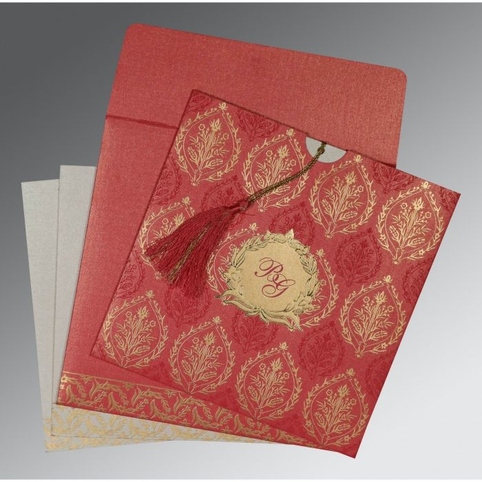 BRICK RED SHIMMERY UNIQUE THEMED - FOIL STAMPED WEDDING CARD : SO-8249K - 123WeddingCards