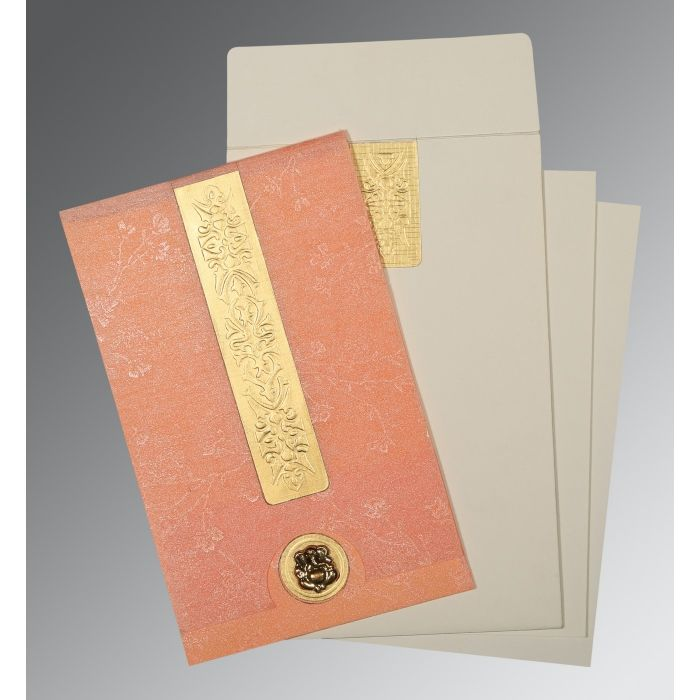 SALMON SHIMMERY EMBOSSED WEDDING INVITATION : CIN-1221 - IndianWeddingCards