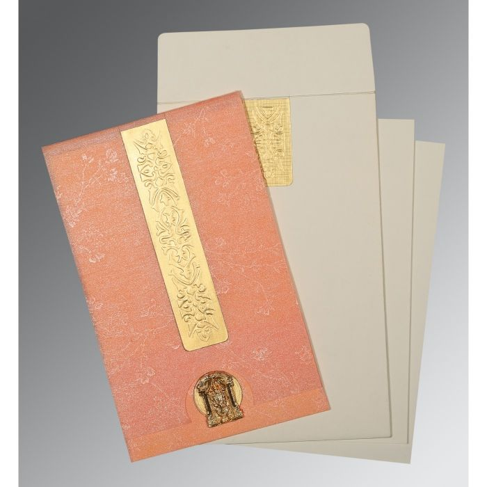 SALMON SHIMMERY EMBOSSED WEDDING INVITATION : SO-1221 - 123WeddingCards