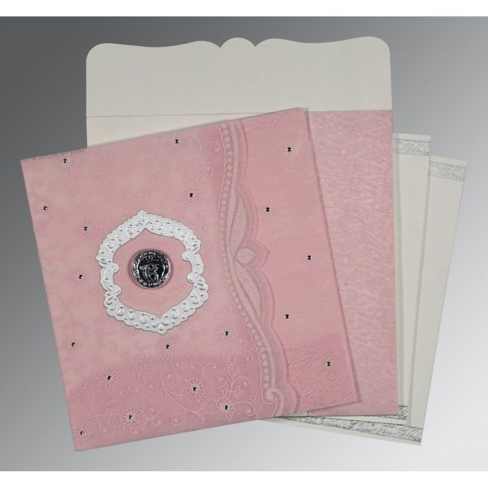 AZALEA PINK SHIMMERY FLORAL THEMED - EMBOSSED WEDDING CARD : CS-8209H - IndianWeddingCards