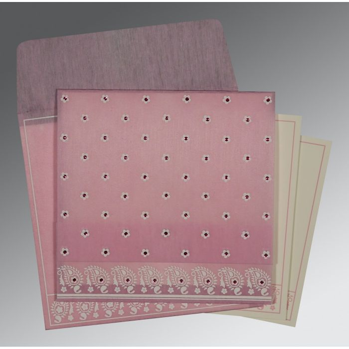AZALEA PINK WOOLY FLORAL THEMED - SCREEN PRINTED WEDDING CARD : C-8218J - 123WeddingCards