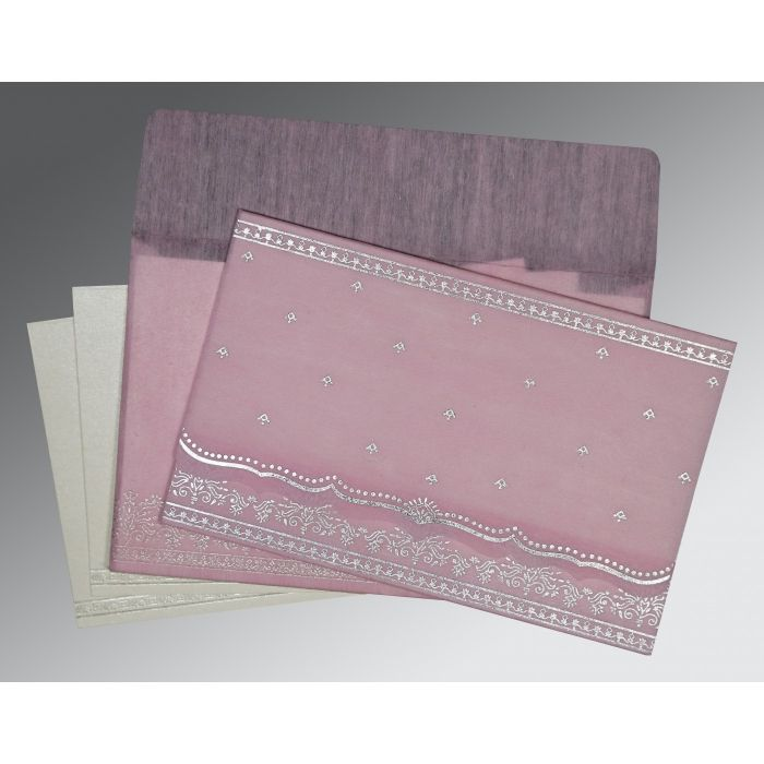 BABY PINK WOOLY FOIL STAMPED WEDDING INVITATION : CD-8241E - IndianWeddingCards