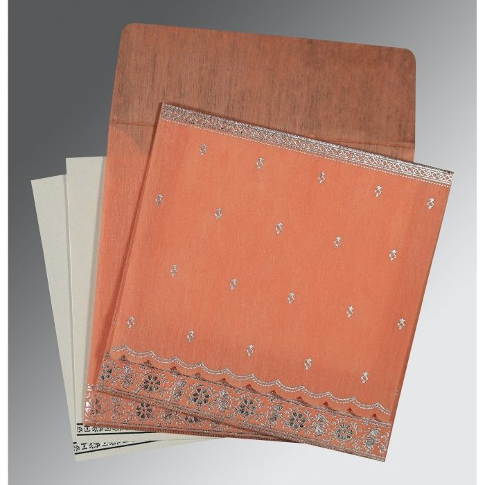 CORAL WOOLY FOIL STAMPED WEDDING CARD : CI-8242L - IndianWeddingCards