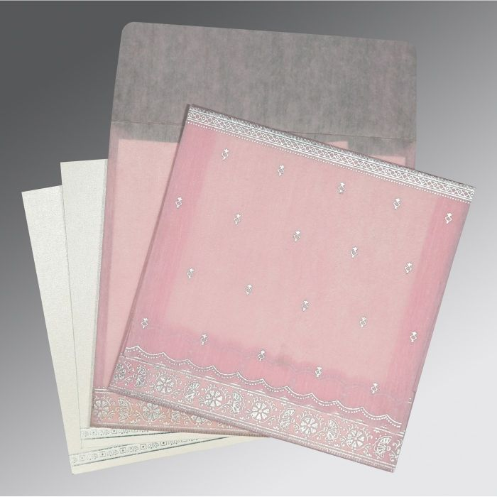 BABY PINK WOOLY FOIL STAMPED WEDDING CARD : CS-8242N - IndianWeddingCards