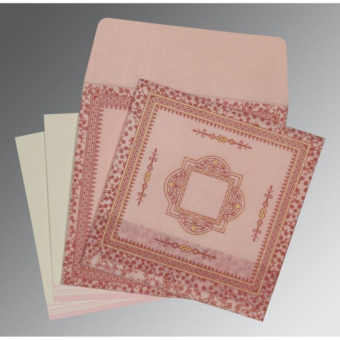 PINK WOOLY GLITTER WEDDING CARD : D-8205J - 123WeddingCards