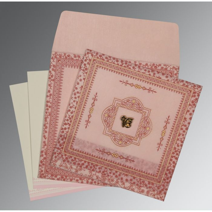 PINK WOOLY GLITTER WEDDING CARD : CS-8205J - IndianWeddingCards