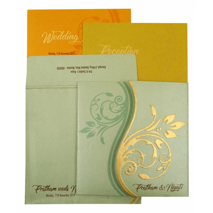 PISTA GREEN SHIMMERY FLORAL THEMED - EMBOSSED WEDDING INVITATION : I-1901 - 123WeddingCards