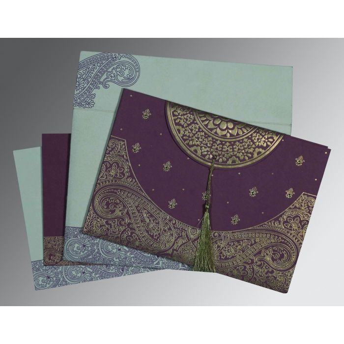 PURPLE HANDMADE COTTON EMBOSSED WEDDING CARD : CS-8234D - IndianWeddingCards