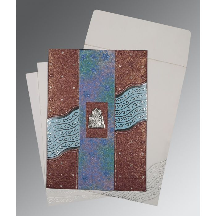 BROWN HANDMADE SHIMMER FOIL STAMPED WEDDING CARD : G-1375 - 123WeddingCards