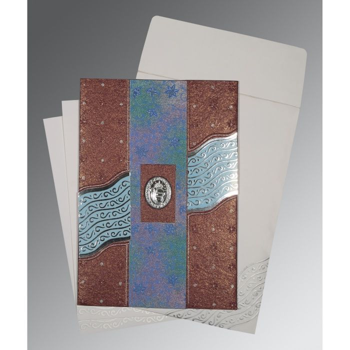 BROWN HANDMADE SHIMMER FOIL STAMPED WEDDING CARD : CS-1375 - IndianWeddingCards
