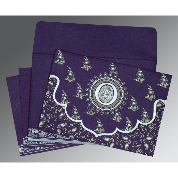DARK VIOLET HANDMADE SILK SCREEN PRINTED WEDDING INVITATION : CI-8207G - IndianWeddingCards