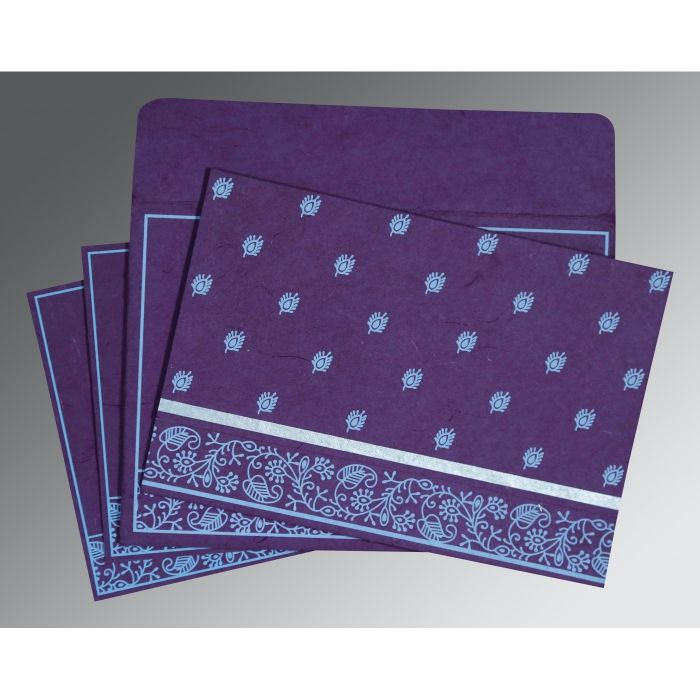 PURPLE HANDMADE SILK SCREEN PRINTED WEDDING CARD : CRU-8215G - IndianWeddingCards