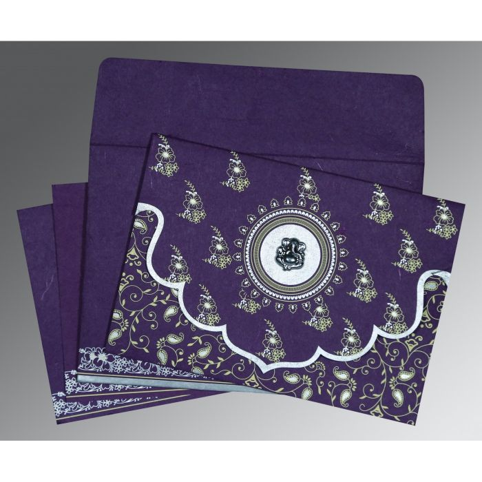 DARK VIOLET HANDMADE SILK SCREEN PRINTED WEDDING INVITATION : CW-8207G - IndianWeddingCards