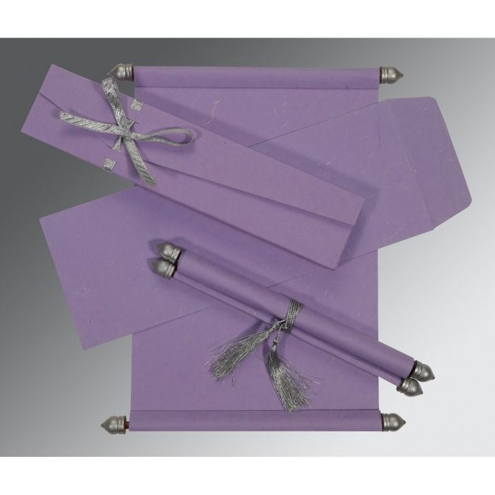 LAVENDER PURPLE HANDMADE SILK WEDDING CARD : SC-5001P - 123WeddingCards