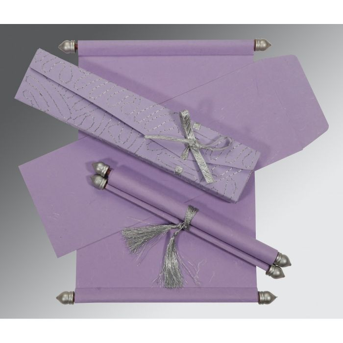 PINK PURPLE HANDMADE SILK WEDDING CARD : CSC-5002O - IndianWeddingCards