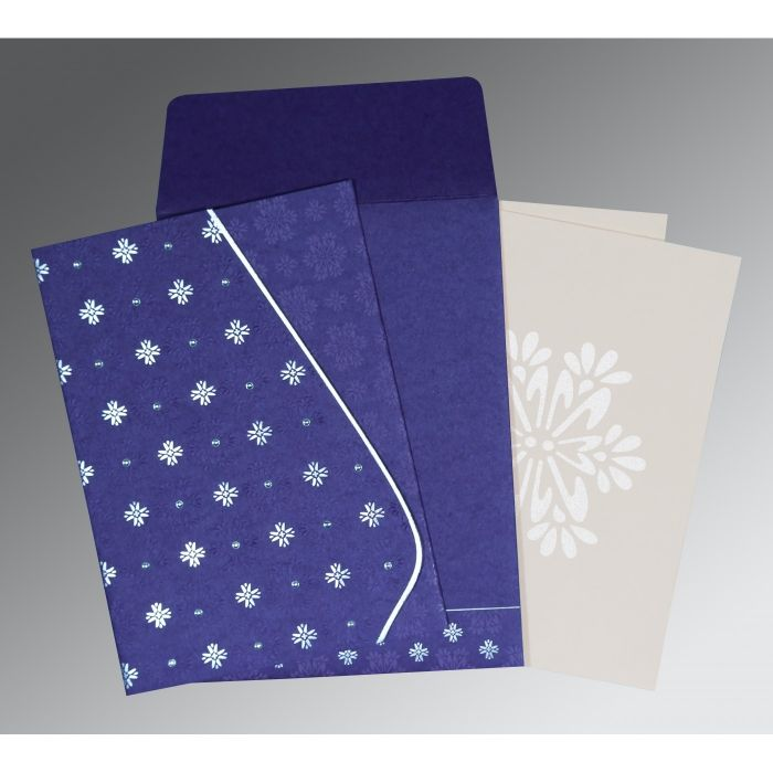 PURPLE MATTE FLORAL THEMED - FOIL STAMPED WEDDING INVITATION : S-8237A - 123WeddingCards