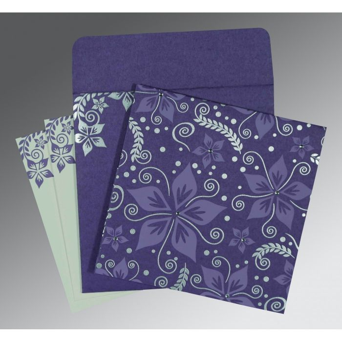 BLUE PURPLE MATTE FLORAL THEMED - SCREEN PRINTED WEDDING INVITATION : CI-8240B - IndianWeddingCards