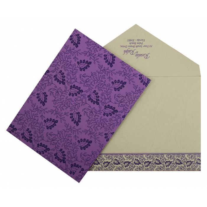 PURPLE MATTE PAISLEY THEMED - SCREEN PRINTED WEDDING INVITATION : I-811D - 123WeddingCards