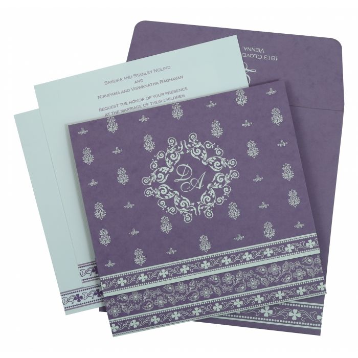 PURPLE MATTE SCREEN PRINTED WEDDING INVITATION : S-808E - 123WeddingCards
