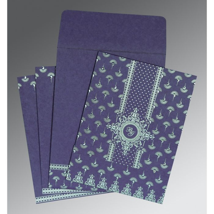 PURPLE MATTE SCREEN PRINTED WEDDING INVITATION : CRU-8247C - IndianWeddingCards