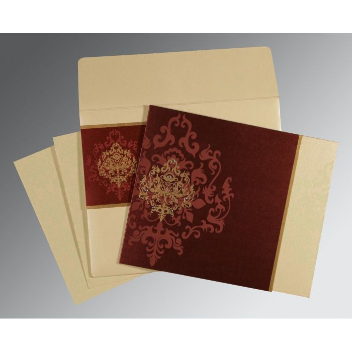 DERBY BROWN SHIMMERY DAMASK THEMED - SCREEN PRINTED WEDDING CARD : CW-8253F - IndianWeddingCards