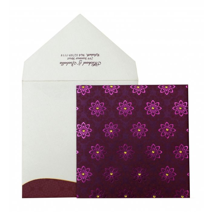 PURPLE SHIMMERY FLORAL THEMED - FOIL STAMPED WEDDING INVITATION : C-IN-837 - IndianWeddingCards
