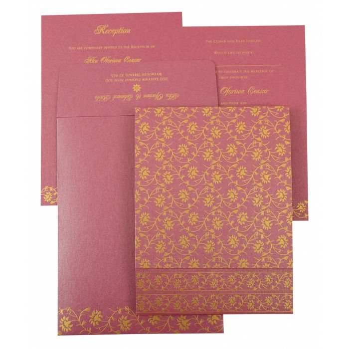 PURPLE SHIMMERY FLORAL THEMED - SCREEN PRINTED WEDDING INVITATION : C-822D - 123WeddingCards
