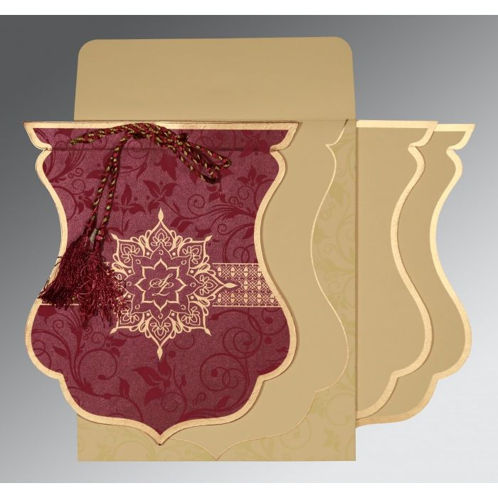 CLARET SHIMMERY FLORAL THEMED - SCREEN PRINTED WEDDING CARD : CSO-8229K - IndianWeddingCards