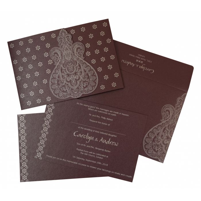 RAISIN SHIMMERY PAISLEY THEMED - SCREEN PRINTED WEDDING INVITATION : CSO-801C - IndianWeddingCards