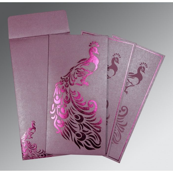 ORCHID SHIMMERY PEACOCK THEMED - LASER CUT WEDDING INVITATION : CIN-8255F - IndianWeddingCards