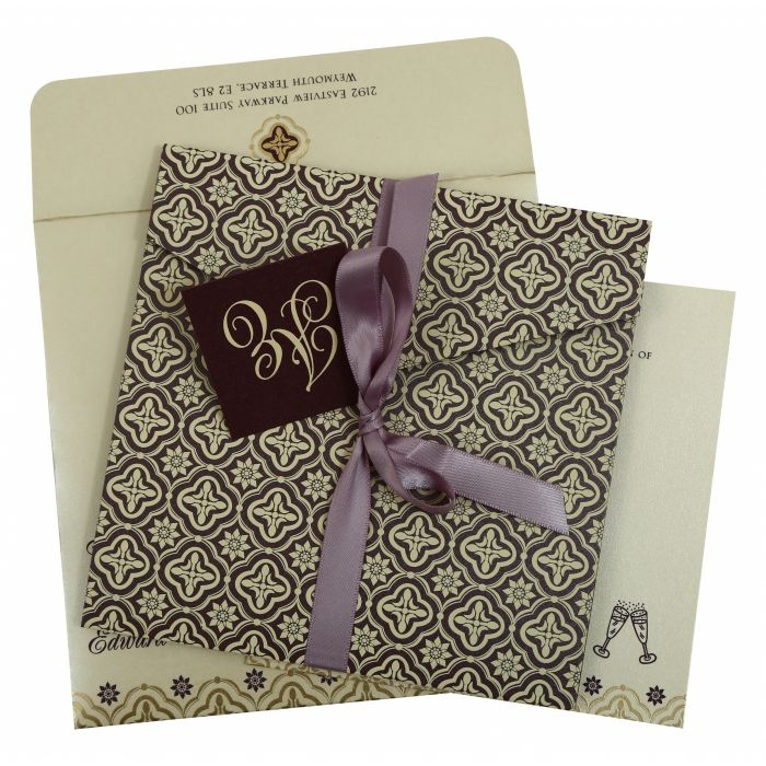 PURPLE SHIMMERY SCREEN PRINTED WEDDING INVITATION : IN-805C - 123WeddingCards