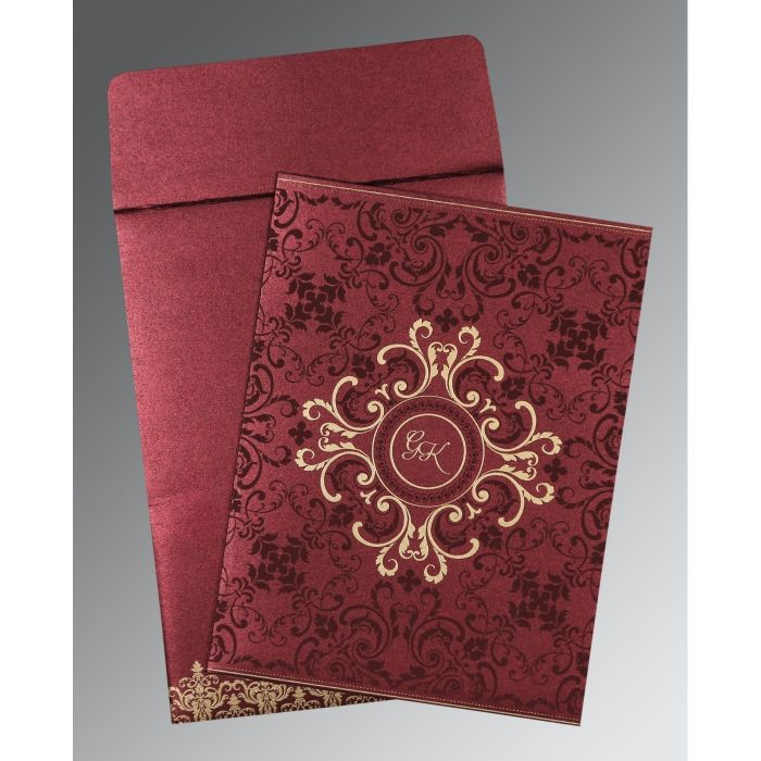 BURGUNDY SHIMMERY SCREEN PRINTED WEDDING CARD : CS-8244H - IndianWeddingCards