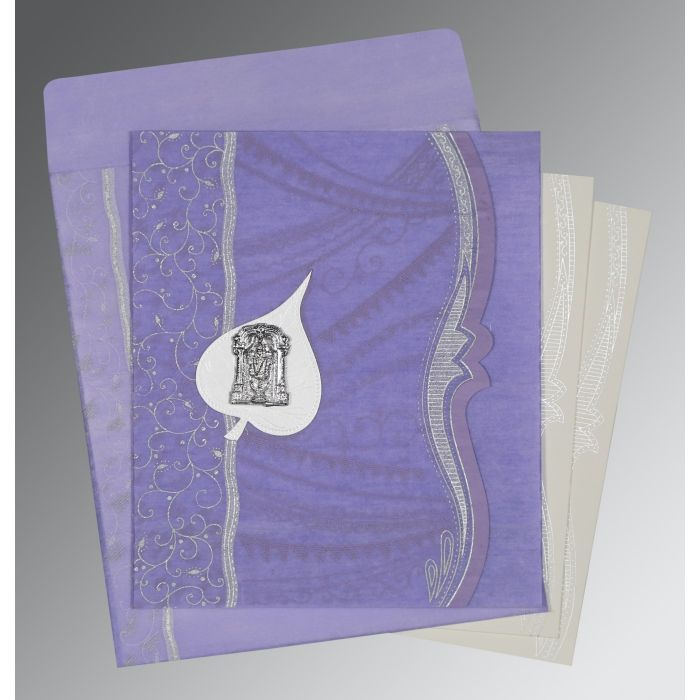 VIOLET SHIMMERY EMBOSSED WEDDING CARD : CSO-8210N - IndianWeddingCards