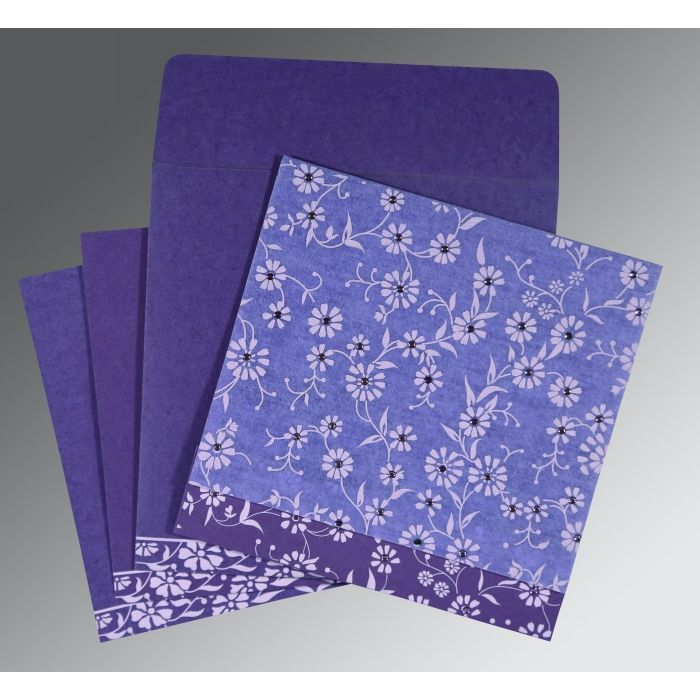 PURPLE MATTE FLORAL THEMED - SCREEN PRINTED WEDDING CARD : CS-8222O - IndianWeddingCards
