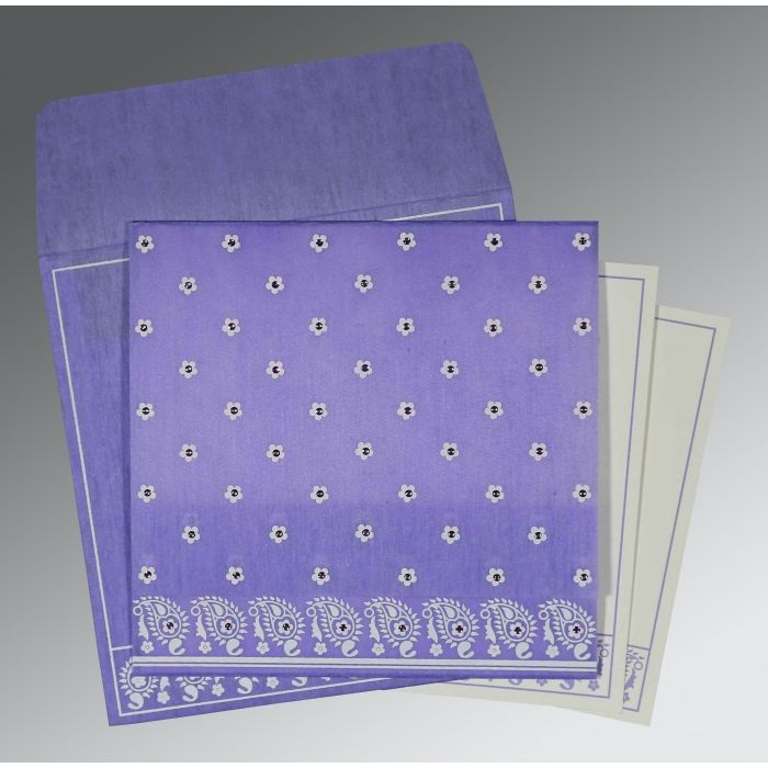 PINK PURPLE WOOLY FLORAL THEMED - SCREEN PRINTED WEDDING CARD : CSO-8218H - IndianWeddingCards