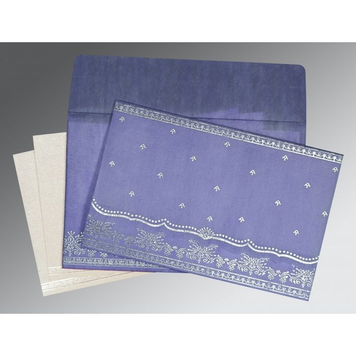 PASTEL PURPLE WOOLY FOIL STAMPED WEDDING INVITATION : CG-8241D - IndianWeddingCards