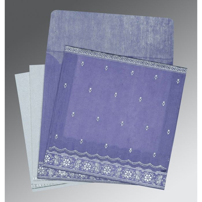 BLUE BELL WOOLY FOIL STAMPED WEDDING CARD : CG-8242C - IndianWeddingCards