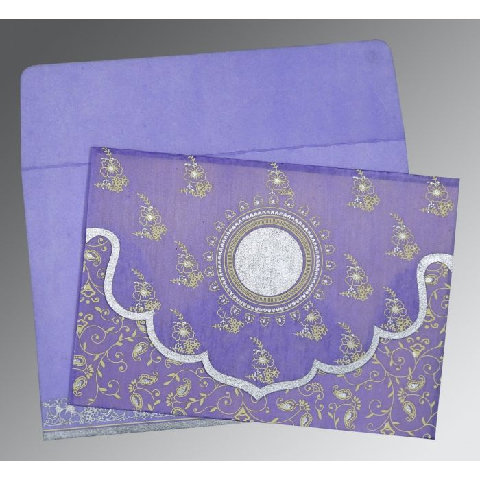 PASTEL PURPLE WOOLY SCREEN PRINTED WEDDING INVITATION : CD-8207D - IndianWeddingCards
