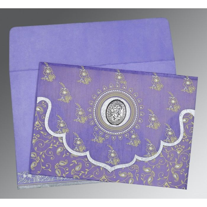 PASTEL PURPLE WOOLY SCREEN PRINTED WEDDING INVITATION : CI-8207D - IndianWeddingCards