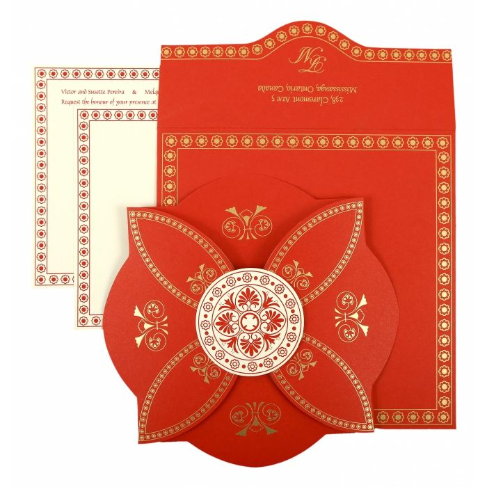 RED BUTTERFLY THEMED - SCREEN PRINTED WEDDING INVITATION : IN-820B - 123WeddingCards