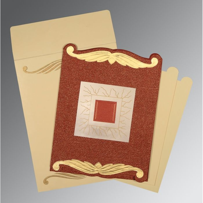 BRICK RED GOLD SHIMMERY EMBOSSED WEDDING CARD : CD-1412 - IndianWeddingCards