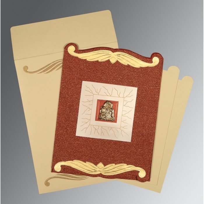 BRICK RED GOLD SHIMMERY EMBOSSED WEDDING CARD : CG-1412 - IndianWeddingCards