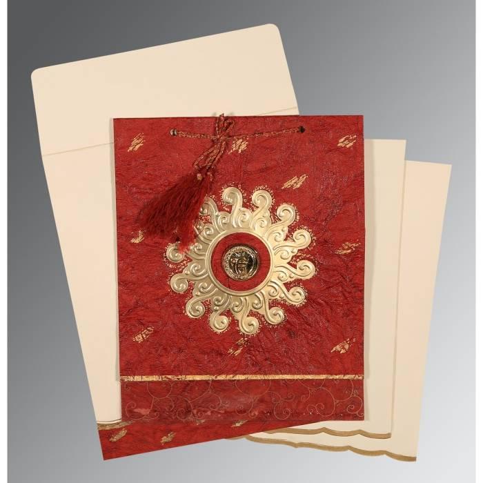 MAROON GOLD SHIMMERY EMBOSSED WEDDING INVITATION : CS-1264 - IndianWeddingCards
